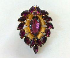 Vintage Gold and Amethyst Purple Glass Pin / by TrendyTreasures1, $59.00 #vintage #TeamLove #EcoChic