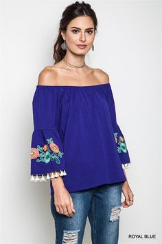 The Summer Daze Off the Shoulder Top is the perfect top for Summer! It features an off the shoulder style, embroidered floral bell sleeves & fringe! What else could you want in a summer top? All my fa