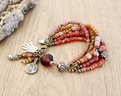 Hamsa boho gypsy bracelet boho jewelry bracelet ethnic by OmSaha