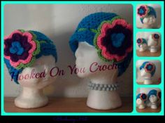 Blueberry Muffin hat with detachable flower headband  ( pattern by https://www.etsy.com/ca/listing/83200871/baby-girl-crochet-pattern-blueberry?ref=shop_home_feat_1 )