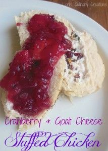Cranberry isn't just for the Thanksgiving dinner. This recipe uses cranberry in two forms, one in the chicken and one in the sauce. Turkey Recipes, Chicken Recipes, Goat Cheese Stuffed Chicken, Cranberry Cheese, Cranberry Sauce, Glass Baking Dish, Baked Chicken, Chicken Sides, How To Cook Chicken
