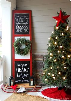 Uplift the décor of your porch with these chic Christmas porch decoration ideas. The outdoor Christmas décor inspiration in the gallery offers inputs for a complete porch Holiday makeover. Porch Christmas Tree, Front Door Christmas Decorations, Noel Christmas, Modern Christmas, Christmas Signs, Holiday Decor, Black Christmas, Christmas Displays, Porch Ideas For Christmas