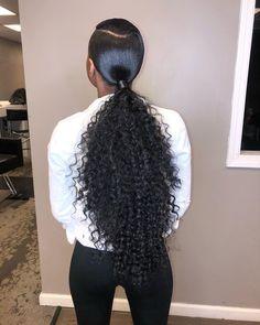 Sleek swoop ponytail w/ curly hair for my sis ✨💜🎉 Happy Birthday Derricka Curly Ponytail Weave, Hair Ponytail Styles, Slicked Back Ponytail, Slick Ponytail, Weave Ponytail Hairstyles, My Hairstyle, Curly Hair Styles, Natural Hair Styles, Ponytails For Black Hair