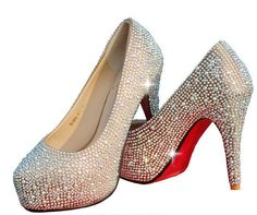 2aa85ea8fff6a Top Quality Women s Diamond High Heels Red Rhinestone Wedding Shoes Lady  Sexy Platform Pumps Color Red White Silver Champagne-inPumps from Shoes on  ...