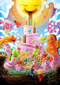 Entry for Wacom 'DREAMS' contest The idea comes from every child dreams, about a world full of candies , and infinite sweets~ We , as a child, often feel desperate when our snacks runs ou. Candy House, Candy Art, Affinity Designer, Game Background, Living Dolls, Environment Design, Cute Art, Sweet Dreams, Food Art