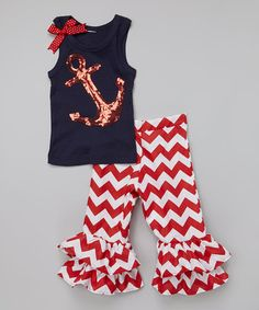 Loving this Navy & Red Anchor Tank & Ruffle Pants - Infant, Toddler & Girls on #zulily! #zulilyfinds