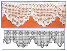 KUFER - artystyczne rękodzieło : Filet - koronka siatkowa - wzory Crochet Doily Diagram, Filet Crochet Charts, Crochet Lace Edging, Crochet Borders, Thread Crochet, Crochet Doilies, Crochet Stitches, Knit Crochet, Tatting Patterns