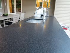 Absolute Black Honed Granite Countertop In Sammamish WA from GraniteMarbleWA.com