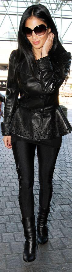 Nicole Scherzinger - black look,love the peplum leather jacket