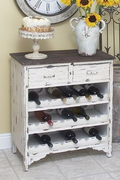 Turn an old dresser into a wine rack!