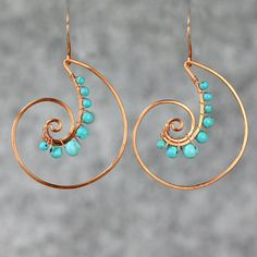 Scroll hoop copper wiring turquoise shell hoop Rococo earring handmade US freeshipping Anni Designs