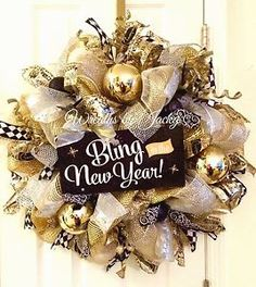 New Year's Wreath Gold Silver White and Black Ribbon Wreath Deco Mesh | eBay