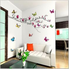 Simple Tips To Apply Butterfly Bedroom Ideas in the Walls : Stunning Small Living Room Decor Ideas With White Vinyl Sofa Feat Glass Coffe Table On Dark Grey Rug Also Colorful Butterfly Wall Sticker