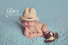 Newborn cowboy hat and boots by LandyKnits on Etsy, $45.00