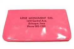 Lenz Monument Co Dubuque Iowa Advertising. Pink Sewing and Manicure Kit Premium Souvenir Collectible.