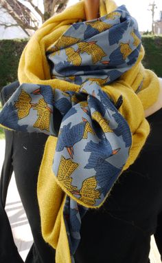 long double scarf - 1 sided material silky patterns birds 1 saffron side  foamy material style pashmina 16a55f5d41e