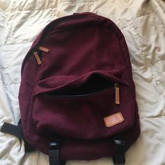 Vans maroon fabric backpack Looks small but actually holds more than it looks! Used it three times at most. Zipper and straps both in perfect condition and is very sturdy Vans Bags Backpacks