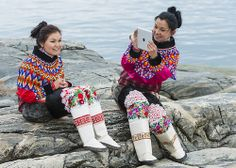 Young women in Greenland national costume