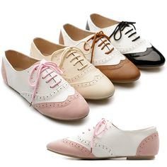 Women's Classic Dress Oxfords Low Flats Heels Lace Up Multi Colored ...