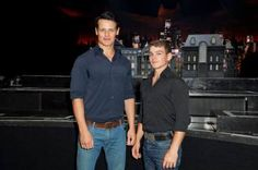 Sam Heughan and Kamran Darabi-Ford attend the 'Batman Live' Media Day at Staples Center on September 27, 2012 in Los Angeles