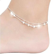 Women Anklets Foot Accessories Star Chain Ankle Bracelet Barefoot Sandal Beach Foot Jewelry Anklet For Women Lowest Price Sterling Silver Anklet, Silver Anklets, Silver Bracelets, 925 Silver, Silver Payal, Cheap Bracelets, Cheap Necklaces, Pandora Bracelets, Beach Feet
