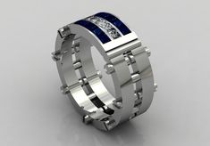 14k White Gold Engagement or Wedding Ring for Men With by VOLISA, $1450.00