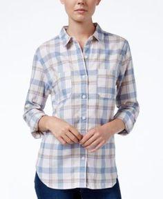 Levi's Plaid Workwear Boyfriend Shirt - Blue XS