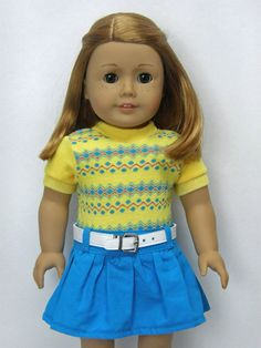 American Girl doll clothes, 18 inch doll clothes, American Girl clothes, yellow sweater top by Unendingtreasures on Etsy