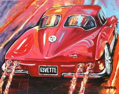 Vintage 63 Corvette Original Art PAINTING DAN BYL Modern Contemporary Huge 5ft #Vintage Happy July, Large Art, Corvette, Modern Contemporary, Dan, Original Art, The Originals, Painting, Vintage