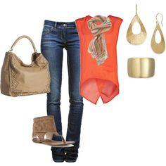 jeans and tank, created by kymwray on Polyvore