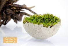 Beton-Schale mit Moos | hergestellt mit Do It Yourself Beton Windlicht-Set Diy Beton, Planter Pots, Do It Yourself Ideas, Play Dough, Plant Pots
