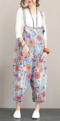 af058f3c6109 Summer Casual Floral Print Denim Overalls Women Cotton Jumpsuit Q1179