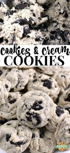 Cookies & Cream Cookies are made with pudding mix and Oreo cookies for a perfect. - Cookies & Cream Cookies are made with pudding mix and Oreo cookies for a perfect. Cookies & Cream Cookies are made with pudding mix and Oreo cookies. Oreo Desserts, Delicious Desserts, Yummy Food, Baking Desserts, Oreo Cookie Recipes, Oreo Treats, Easy Bake Desserts, Awesome Desserts, Delicious Cookies
