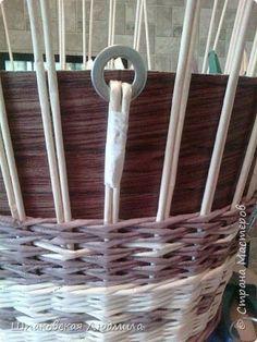 Поделка изделие Плетение Лоза бумажная и натуральная Трубочки бумажные фото 8