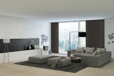 Go with subtle colours for living room decor . Living Room Colors, Living Room Decor, Best Blinds, Sliding Panels, Grey Couches, Indian Homes, Interior Decorating, Interior Design, Blinds For Windows