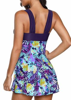 2ad98a6d38 Printed Dark Purple Wide Strap Swimdress and Shorts
