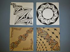 inquisitive-Sue: Zentangle Challenge - ING, like the colors on brown Tangle Doodle, Tangle Art, Doodles Zentangles, Zen Doodle, Zentangle Patterns, Doodle Art, Simple Colors, Pattern Drawing, Tangled