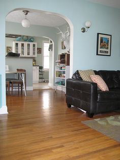 "The color paint we are using is Behr ""Aqua Pura"" Same as the blue on these beautiful walls."