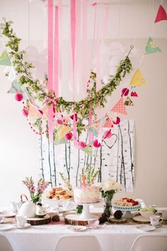 Woodland Fairy Tea Party / would be the clusters little girl birthday party / or fabulous decor for a wedding shower Fairy Birthday Party, Birthday Parties, Kid Parties, Birthday Ideas, Pool Parties, 5th Birthday, Lila Party, Decoration Buffet, Fairy Tea Parties