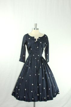 1940s Dress  Vintage Womens Navy Blue by VintageFrocksOfFancy, $190.00