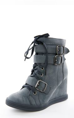 ec6200faeeb47d Halston01 Buckle Laced Up Wedge Sneakers Fab Shoes