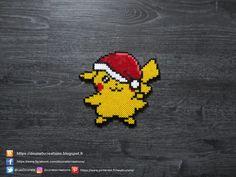 Hama Beads Design, Hama Beads Patterns, Beading Patterns, Pokemon Christmas Ornaments, Christmas Perler Beads, Perler Bead Disney, Perler Bead Art, Pikachu Hama Beads, Pokemon Craft
