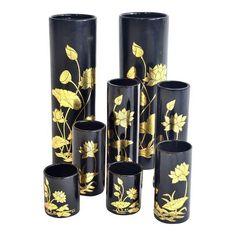 Thai Lacquered Vases - Set of 8