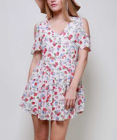 Another great find on #zulily! 42POPS White & Red Floral Cutout Shoulder Button-Front Dress by 42POPS #zulilyfinds