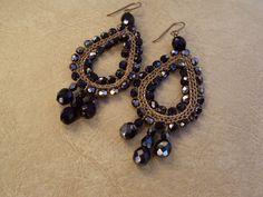 Crochet Earrings.Custom Earrings.Brass Earrings.Hematite Earrings.Dangle Earrings. on Etsy, $32.00