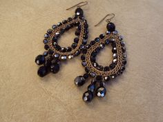 Crochet Earrings.Custom Earrings.Brass Earrings.Hematite Earrings.Dangle Earrings. on Etsy, $32.00
