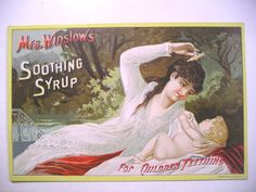 1/ 1887 Calendar Trade Card Mrs Winslow's Soothing Syrup Baby Teething