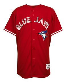 """The Toronto Blue Jays yesterday put their 2012 Canada Day jerseys up for sale on their online team shop (or is it """"shoppe""""?) giving us our first look at the new uniform all done up in red. Baseball Uniforms, Sports Uniforms, Sports Jerseys, Sports Sites, Mlb Teams, Canada Day, Toronto Blue Jays, Go Blue, Jersey Shirt"""