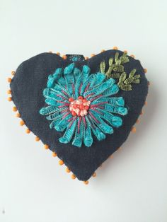 Porte-clés coeur - porte-clés tissu brodé - bijoux de sac