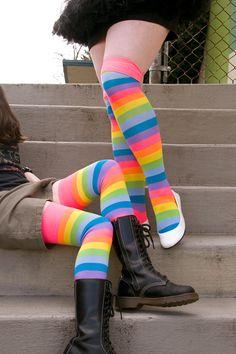d8ad0f564 Neon Acrylic Rainbow Thigh High